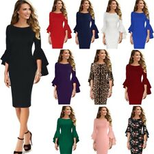 c30e9cc6223a Vfemage Womens Ruffle Bell Sleeve Slim Fitted Cocktail Party Pencil Sheath  Dress