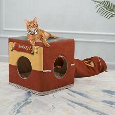 New listing Cat Tunnel Cubes Cat House Hide Tunnel Bed Furniture with Toy For Small Pet New