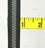 """Faux Metallic Zipper Ribbon Retro Zipper Ribbon 3/4"""" Navy Silver 9 yds #MRB1"""