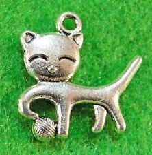 10Pcs. Tibetan Silver 2-Sided CAT Charms Pendants Earring Drops Findings C20