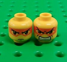 *NEW* Lego Orange Mask Stern Angry Faces Heads Minifigures Figs - 2 pieces