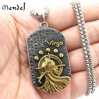 MENDEL Mens CZ Gold Virgo Zodiac Sign Necklace Pendant Stainless Steel Jewelry