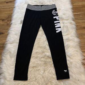 Pink Victoria's Secret Black Long Logo MEDIUM Cotton Flat Waist Yoga Legging