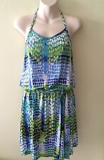 NWT ~ Michael Kors ~ S/P ~ Halter Neck Blue & Yellow & White Sun Beach Dress