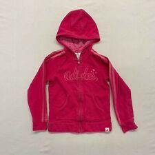 Adidas Girls 6 Sweatshirt Pink Hoodie full zip Cotton