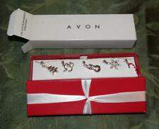 AVON Jewelry Christmas Interchangable Charm Necklace Set Gift Box Silvertone