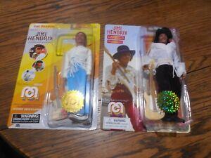 "2 Rare Mego Woodstock Jimi Hendrix Classic Action Figures 8"" With Fender Guitars"