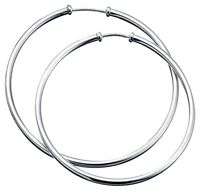 Elements 50mm 925 Polished Sterling Silver Ladies Large Hoop Earrings