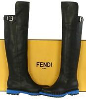 NEW FENDI BLACK LEATHER KNEE GUARD OVER KNEE BLUE SOLE TALL BOOTS SHOES 37.5/7.5