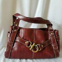 Relic Red Maroon Purse Shoulder Bag Diagonal Line Tooled Buckle