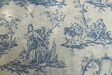 """VINTAGE  TOILE DE JOUY BLUE CREAM DESIGN TABLE CLOTH 68"""" ROUND £9.99 EACH"""