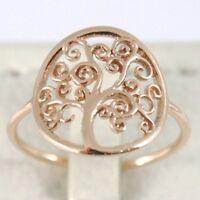 Ring aus Gold Pink 750 18K Mit Baum des Lebens, Kreis, Made IN Italien