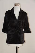 Womens New Forcast 3/4 Sleeve Black Satin Cocktail Jacket Blazer - Size 8 NWT
