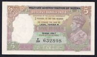 Burma 5 Rupees 1945  P-26  ( MILITARY ADMINISTRATION)  UNC