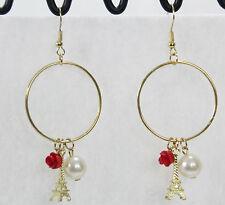 Paris Eiffel Tower charms dangle hoop earrings gold pearl red flower sweet