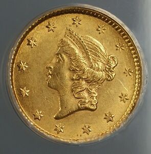1853 Gold One Dollar $1 ANACS MS-60 (Better Coin)