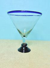 (1) Mexican Hand Blown Cobalt Blue Rim/Base Margarita Martini Cocktail 32 OZ