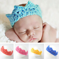 Baby Crochet Knitted Crown Toddler Hat Headband Photography Prop 7 Colors