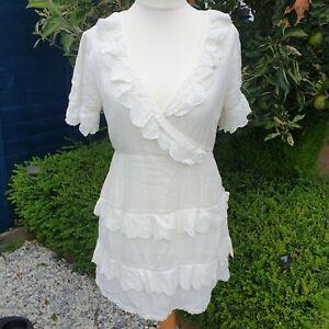Miss Selfridge Womens Petites White Embroidered Frill Dress BNWT Size 12 Short