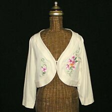 TOMMY BAHAMA Ivory Embroidered Flowered Tropical Shrug Jacket Top M (8-10)