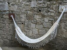 Hand Woven Cotton Traditional Hammock - Cream with accents
