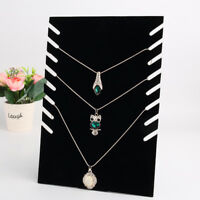 Necklace Jewelry Pendant Chain Display Holder Stand Velvet Organizer Rack Black