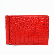 New Red Mens Money Clip Walllet  Real Alligator Crocodile Leather Skin.