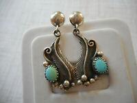 Vintage Southwest Sterling Silver Turquoise Fern Dangle Earrings   20M2