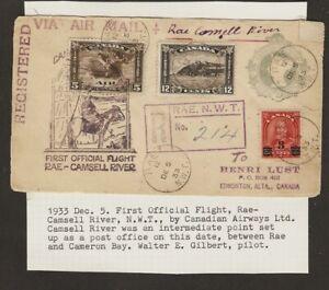 CANADA FFC AAMC 3349 RAE CAMSELL  FFC 1933 U7 stp envelope  RAE N.W.T.