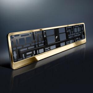 1 Kennzeichenhalter | GOLD Hochglanz | Chrom Look Metallic | Nummernschildhalter