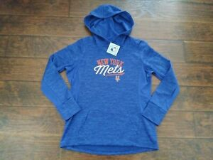 NWT Majestic Women's Long Sleeve MLB New York Mets Pullover Hoodie Blue XL
