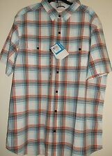 COLUMBIA Outdoors Casual Shirt, Red - Orange PLAID, Men's XL, Gold Pine Series