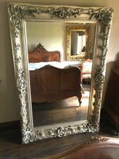 CHAMPAGNE ANTIQUE SILVER FRENCH OVERMANTLE CHUNKY WOOD WALL MIRROR 4FT x 3FT