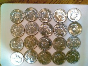 BU 20 Coin Roll of 1963-D Franklin Silver Half Dollars (003)