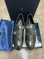 NIB $550 Sergio Rossi Womens Monk Straps Loafers Size 35.5 Patent Leather