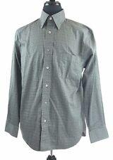 Mac Alan Shirt Men's LARGE Olive Tattersall Check US Made of Italian Fabric