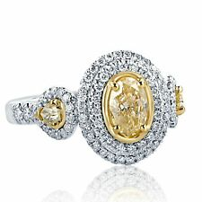 1.57 Carat Yellow Oval Cut Pear Side Diamond Engagement Halo Ring 18k White Gold