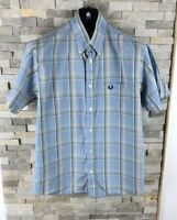 Fred Perry Men's Size M Checked Blue Short Sleeve Shirt Regular Fit