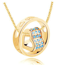 Fashion Jewelry Women Heart Blue Crystal Charm Pendant Chain Necklace Gold QW51