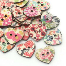 50PCs Wood Sewing Buttons Scrapbooking Pattern Floral Heart Mixed 25x22mm