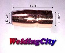 "Miller Hobart Gas Nozzles For MIG Welding Guns 1/2"" Welder Flush Tip 2 Pack Set"