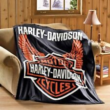 Harley Davidson Motorcycle Fleece Throw Blanket 50x60 Plush Gift For Biker New