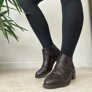 Clarks Brown Loafer Style Low Heeled Low Ankle Boots Sz 5.5 EU 38.5