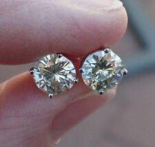 925 Sterling Silver 14K White Gold Finish 2.00ct Genuine Moissanite Stud Earring