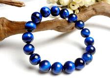 12mm Brazil Natural Blue Tiger's Eye Gemstone Round Beads Stretch Bracelet 7.5''