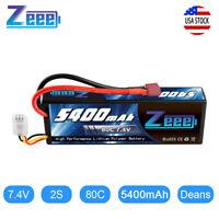 Zeee 5400mAh 80C 2S 7.4V Lipo Battery Hardcase Deans Plug for RC Car Truck Boat