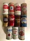 11 Can Lot -  Collection of Variety of Antique Cans Drained Miller, Modelo ,etc.