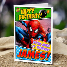EXTRA LARGE Spider-Man **Personalised A4 Birthday Card** Spiderman Son Nephew