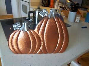 "Harvest Metal Art Wall/Table Top Decor Shiny Pumpkins 15"" Wide by 11"" Tall"