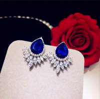 Solid 14Carat White Gold Over 4 Ct Pear Blue Sapphire Halo Stud Women's Earrings